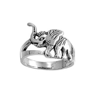 925 Sterling Silver Baby Elephant 13MM Ring