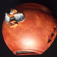 Eagle dancer indoor ceramic half pot wall light handmade in New Mexico