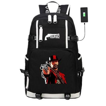 New Game Red Dead Redemption 2 USB Backpack Laptop Shoulder Travel Bags Knapsack Packsack School Student Bag Otaku