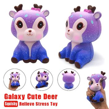 11cm Galaxy Deer Cream Scented Squishy Slow Rising Squeeze Strap Kids Toy Gift