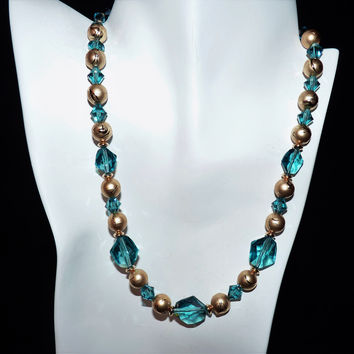 Swarovski Blue Green  Indicolite Crystal and Gold Necklace and Earring Set