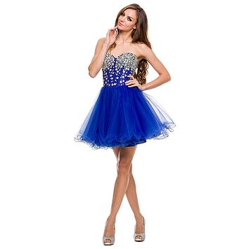 Strapless Rhinestone Embellished Bodice Short Prom Dress Royal Blue