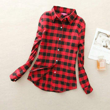 Red + Black Checkers Women's Plaid Shirt 2017 Chic, Slim Long Sleeve. Easy Vintage All Sizes