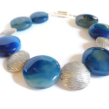 Blue agate necklace. handmade beaded gemstone semi precious choker necklace of agate and Thais silver finished with a magnetic clasp