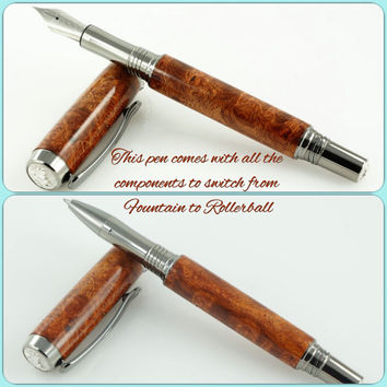 Custom Wooden Pen Beautiful Amboyna Burl Custom Fountain Pen Convertible to Rollerball Black Titanium and Rhodium 806FP/RB CNA