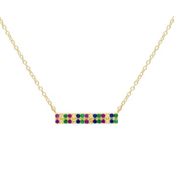 Multicolor Pave Bar Necklace