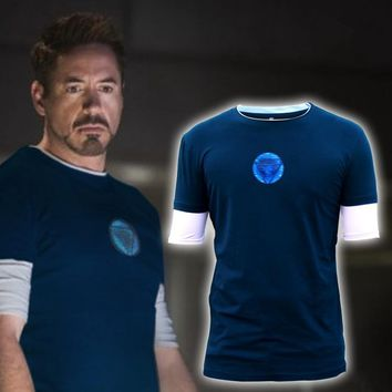 Iron Man 3 New Battle Suit Tony Stark Ironman T-shirt  Movie Shirt Tee Size
