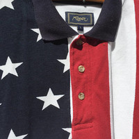 Mens Polo patriotic button-up shirt American Flag R,W&B  4th of July