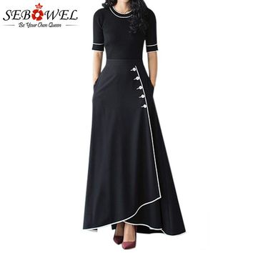 Sebowel 2018 Black A Line Maxi Skirt High Waist Piped Button Long Skirts Womens Winter Ladies Elegant Office Skirt With Pockets