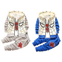 3 pcs Boys Toddlers Spiderman Clothes Autumn Spring Tracksuit Coat T-shirt Pants Outfits Baby clothing Sets 1-3Y