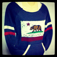 Vintage California Flag with Bear Alternative Apparel Eco-Fleeced Navy Blue, Red and White Pullover