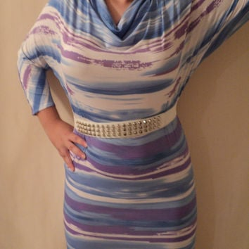 mjcreation  stripes Cowl Neck dress or tunic made to order all size custrom