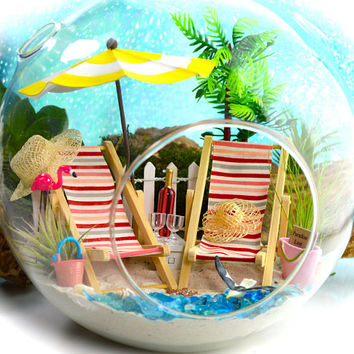 "Beach Terrarium Kit ~ 8"" Air Plant Terrarium ~ Coastal Living Beach Decor ~ BFF Beach Chairs ~ Umbrella ~ Beach Bucket and Ball ~ Gift 4 Her"
