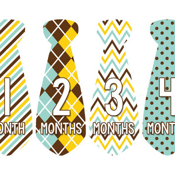 Baby Boy Monthly Necktie Milestone Birthday Tie Stickers Style #707
