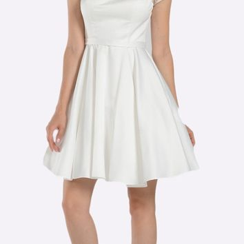 Off White Illusion Short Sleeves Embellished Cocktail Dress