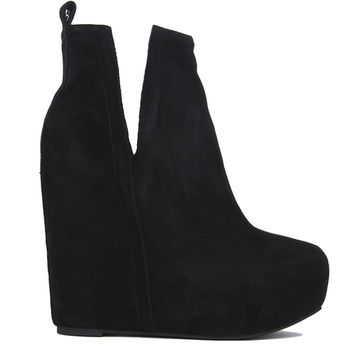 Jeffrey Campbell Ohare Pull On Open Side Wedge Booties - Black Suede