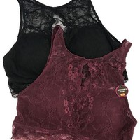 Fiona High Neck Lace Bralette - Burgundy
