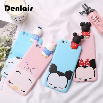 Lovely 3D Mickey Minnie Mouse Donald Duck Case For iPhone 7 6s Coque Soft Silicone Cartoon Phone Case For iPhone 6s Plus 7 7Plus