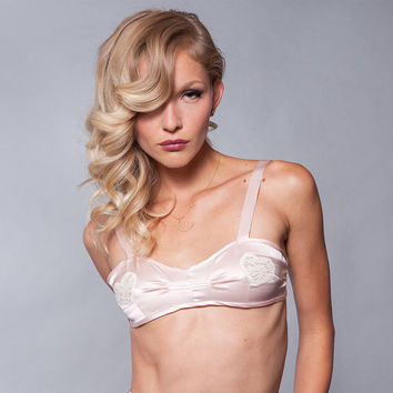 Bra Bralette Lingerie Silk Lace Top / Pink Valentine Wedding Heart - DECO BRALETTE Ready-to-Ship