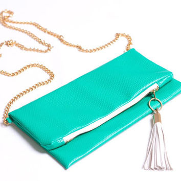 Foldover Clutch Bag with gold chain -Made to Order-