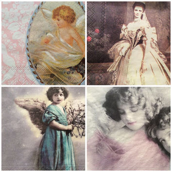 Pack of four 3 ply decoupage paper napkins vintage victorian Angels mixed pack