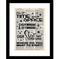 Doctor Who Print Quote All of Time and Space Everywhere and Anywhere Every Star That Ever Was Matt Smith 11th Doctor Dictionary Page Art