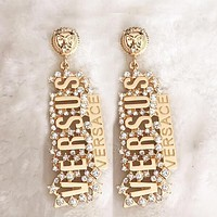 Versace Popular Catwalk Jewelry Diamond Studs Exaggerated Metal Earrings Golden I13394-1