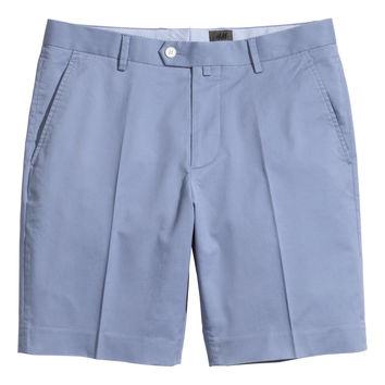 H&M - Premium Cotton Chino Shorts - Blue - Men