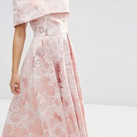 ASOS Pink Jacquard Fold Over Midi Prom Dress