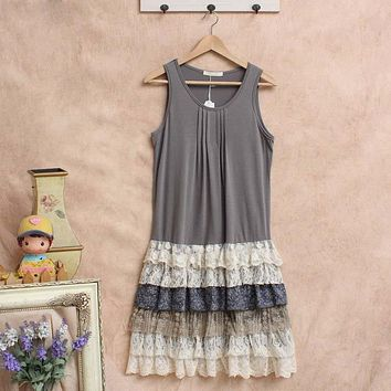 Robe Femme Tunique Harajuku Crochet Linen Vestido Mori Girl Lace Ruffle Lolita Hippie Boho Bohemian Vintage Women Summer Dress
