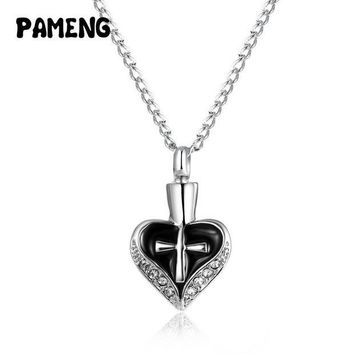 ac spbest Pameng Keepsake Funeral Jewelry Alloy Cross Heart Cremation Ashes Urn Pendant Necklace
