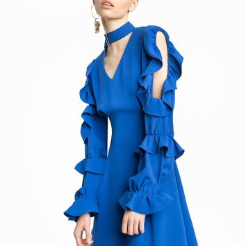 SOPHIE BLUE CHOKER RUFFLED DRESS