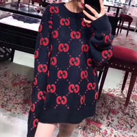 """Gucci"" Women Fashion Letter Logo Bat Pattern Embroidery Long Sleeve Knitwear Sweater"