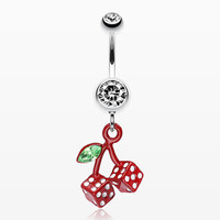 Vibrant Cherry Dice Belly Ring