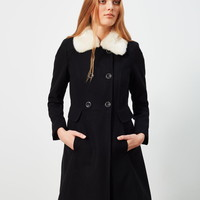 Faux Fur Collar Button Coat - Miss Selfridge