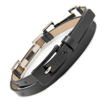 Skinny Patent Leather Belt with Silver Links