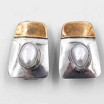 Vintage Modernist Sterling Silver & Baroque Pearl Clip Earrings, Gold Washed, White Pearl, MCM, Artisan, Chunky, Fabulous! #b896