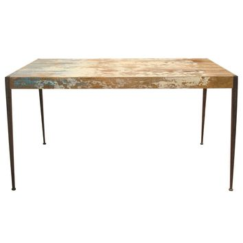 Astoria Rustic Industrial Unfinished Distressed Dining Table Solid Mango Wood Iron Leg