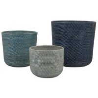 Playa Ocean Blue Rattan Baskets