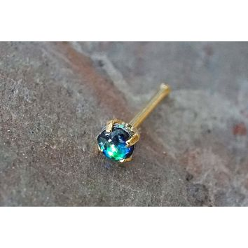 Black Opal Gold Nose Bone Gold Nose Stud Nose Ring