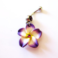 Belly Ring, Tropical Purple Hawaiian Mini Plumeria Flower, With Purple Crystal, Hawaii Belly Button Jewelry For Women, Teens