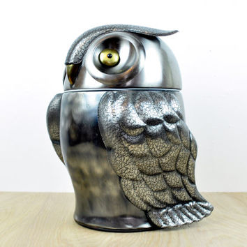 Mid-Century Metal Owl Ice Bucket