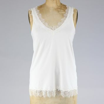 Rosemunde Chantilly Lace Tank in Ivory