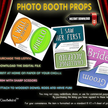 Funny Word Bubble Props For Photo Booth - INSTANT DIGITAL DOWNLOAD