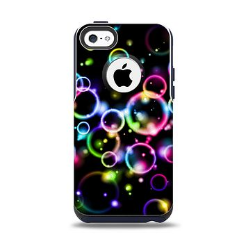 The Glowing Neon Bubbles Apple iPhone 5c Otterbox Commuter Case Skin Set
