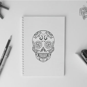 Sugar skull head Notebook A5 Simple Diary Planner Sketchbook Halloween day of the dead dia de muertos mexico