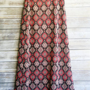 70s Geometric Maxi skirt.  Polyester knit orange metallic aztec print boho hippie folk skirt.  Large