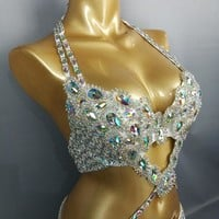 2 pc Beaded Crystal belly dance wear