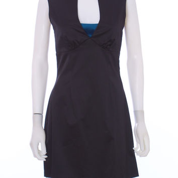 KARL LAGERFELD Black and Teal Satin Cut Out Cocktail Dress Size Med