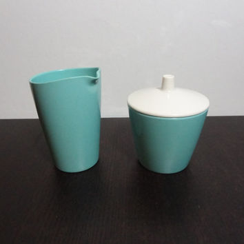 Vintage Retro Turquoise Texas Ware Melamine or Melmac Creamer Pitcher and Sugar Bowl Set